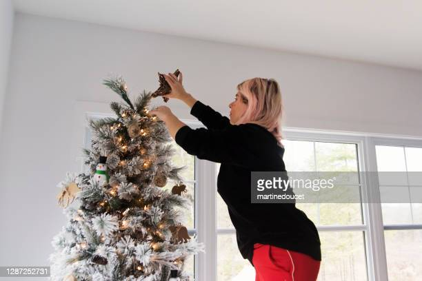 """woman putting a star on top of the christmas tree. - """"martine doucet"""" or martinedoucet stock pictures, royalty-free photos & images"""