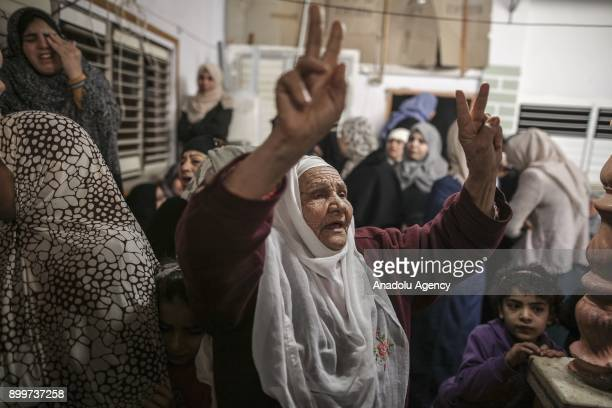 A woman reacts during the funeral ceremony of 20yearold Cemal Mohamed Maslah who was wounded on the clashes between Palestinian protesters and...