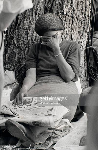 A woman reacts to the news that Senator Robert F Kennedy has been assassinated 6th June 1968 Photo taken on the National Mall in Washington DC during...