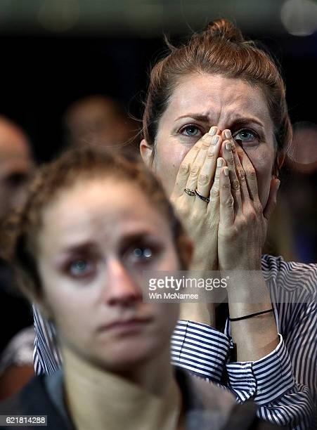 Woman reacts to the voting results at Democratic presidential nominee former Secretary of State Hillary Clinton's election night event at the Jacob...