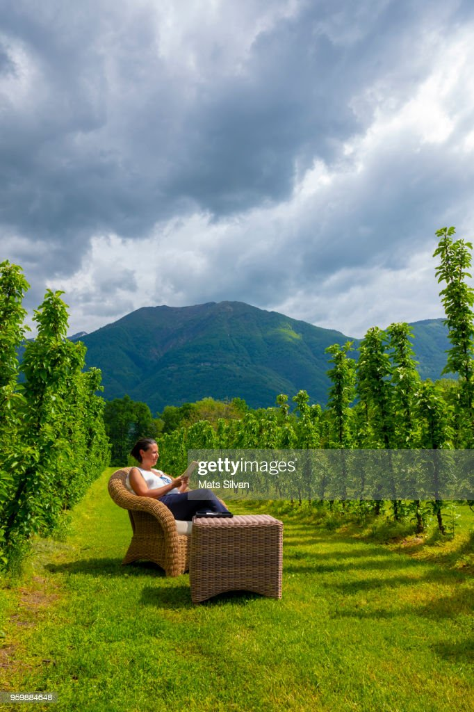 Woman Reading a Book in the Nature : Stock-Foto