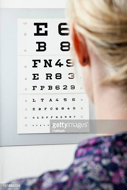 a woman reading an eye chart, over the shoulder view - eye chart stock pictures, royalty-free photos & images