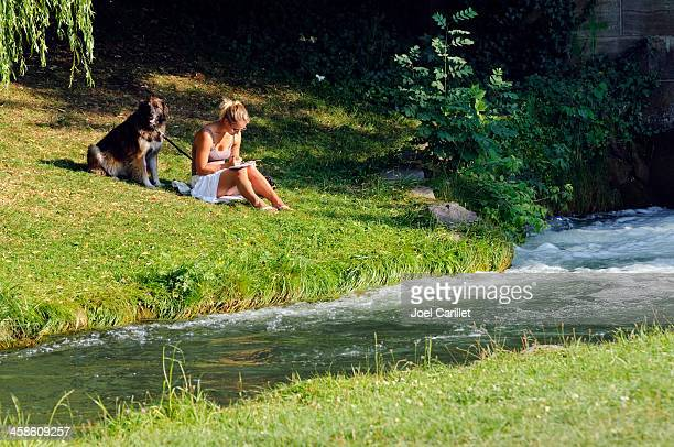 reading beside river - newfoundland dog stock photos and pictures