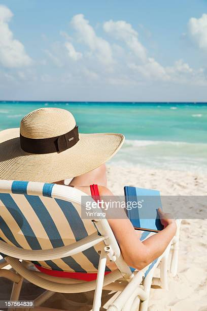 Woman Reading Book on Summer Beach Vacation, Relaxing in Mexico
