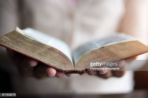 woman reading holy bible. - religion stock-fotos und bilder