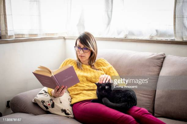 woman reading on a sofa stroking her cat - florence douillet photos et images de collection