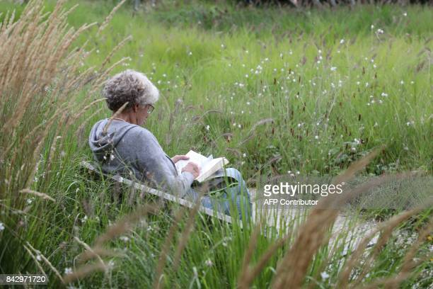 A woman reads a book at the Martin LutherKing garden in the Batignolles area on September 5 2017 in Paris / AFP PHOTO / LUDOVIC MARIN