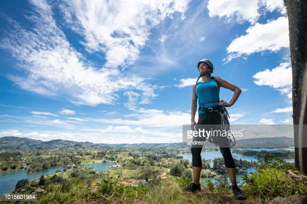 woman ready for rock climbing - guatapé stock pictures, royalty-free photos & images