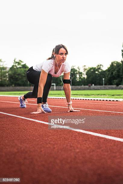 Woman ready for start