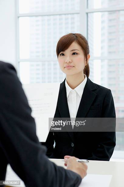 Woman receives an interview