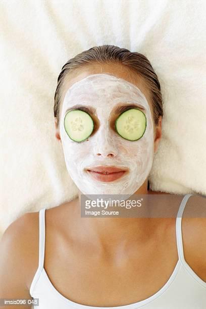 Woman receiving face mask