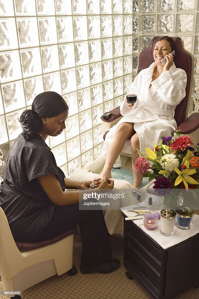 Woman receiving pedicure : Stock Photo