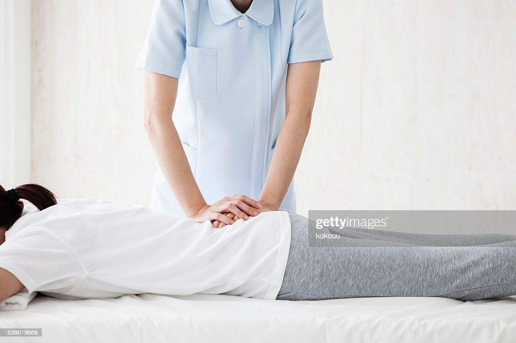 Woman relax and the back are asked to massage : Stock Photo