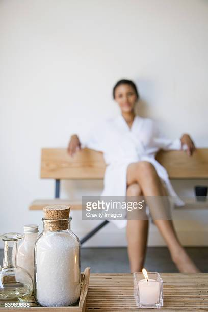 Woman Relaxed with Candle and Salts