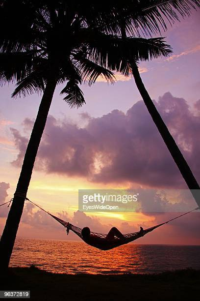 A woman relaxes in a hammock between two palm trees at sunset on the beach of Varkala on January 12 2010 in Varkala near Trivandrum Kerala India