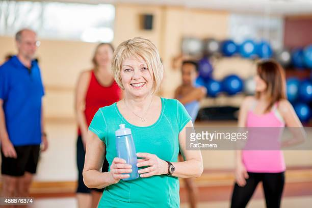 Woman Relaxing After Fitness Class