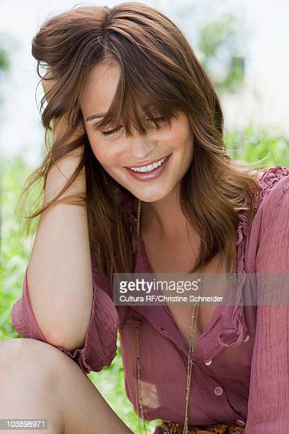 woman relaxing and enjoying herself - women in see through tops stock photos and pictures