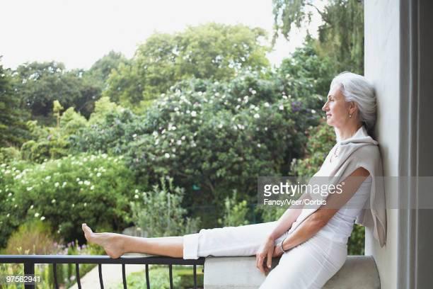 Woman relaxing and enjoying nature