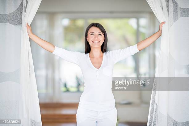 woman relaxing at home - one young woman only stock pictures, royalty-free photos & images