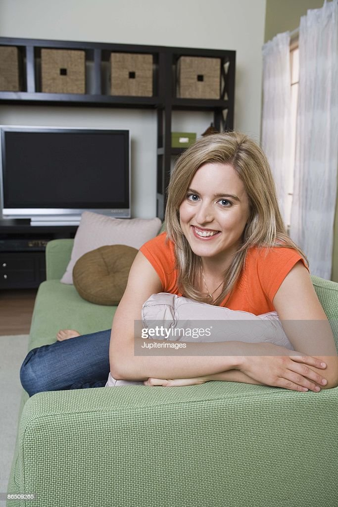 Woman relaxing at home : Stock Photo