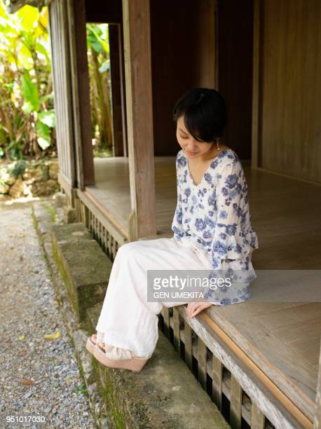 A woman relaxing at house