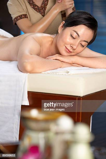 Woman relaxing during her massage