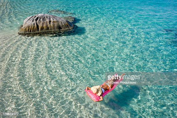 Woman relaxing floating