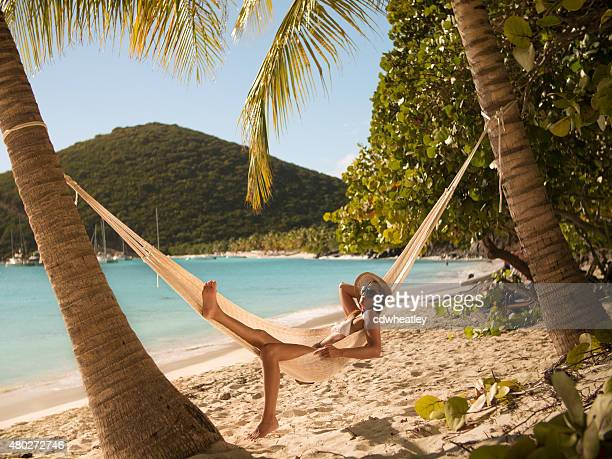 woman relaxing in a hammock at Jost Van Dyke, BVI
