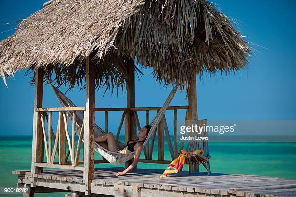 woman relaxing in hammock under thatch hut - belize stock pictures, royalty-free photos & images