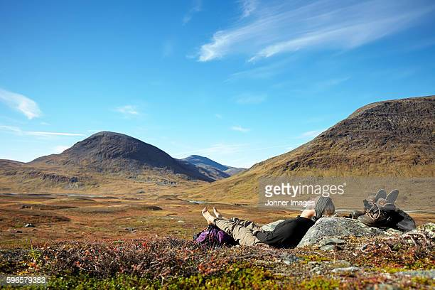 Woman relaxing in mountains