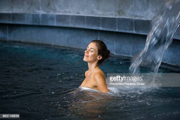 woman relaxing in spa - hydrotherapy stock photos and pictures