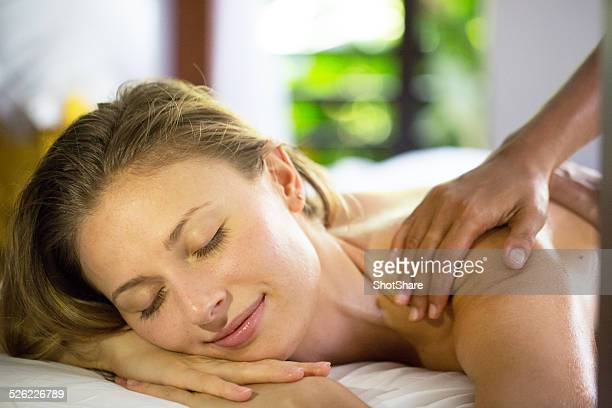 Woman relaxing on massage