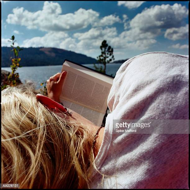 Woman Relaxing with Book, Lake Tahoe, Nevada