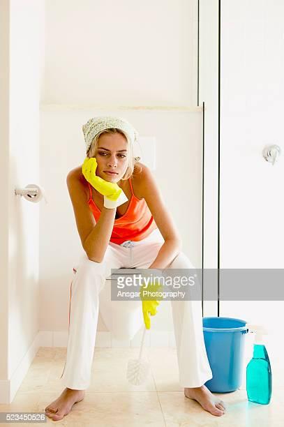 Woman resting in bathroom