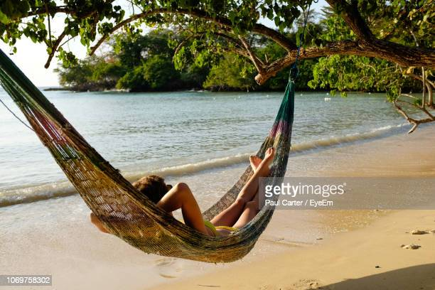 woman resting in hammock at bench - jamaica stock pictures, royalty-free photos & images