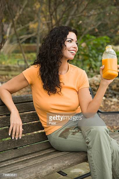 Woman resting on bench