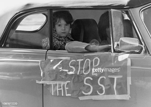 Woman rests her elbow on the open window of her car, a child peers out from the back seat of the car, with 'Stop the SST' taped to the car's door,...