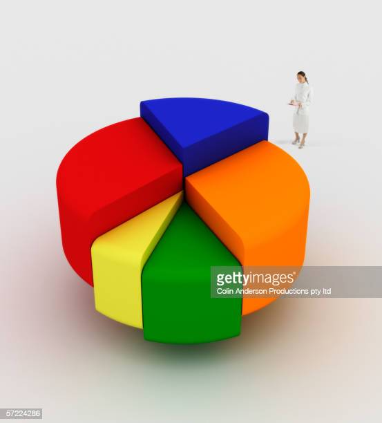 woman reviewing business data - pie chart stock pictures, royalty-free photos & images
