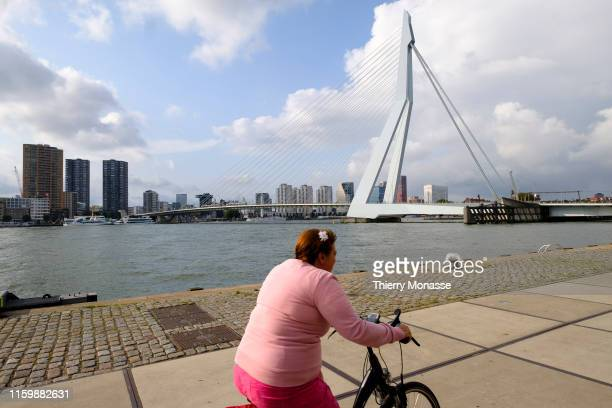 A woman ride her bike in front of the 'Erasmus Bridge' designed by Ben van Berkel is a combined cablestayed and bascule bridge over the Meuse river