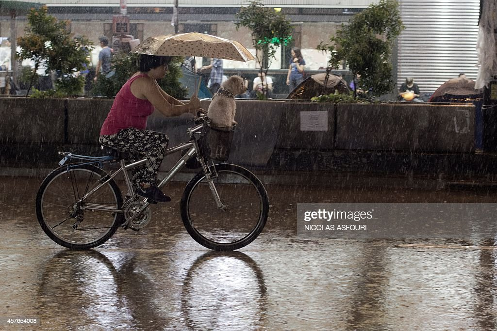 A woman rides a bicycle with her dog and shelter with an umbrella as she drives through the pro-democracy protesters camp site in the Mongkok district of Hong Kong on October 22, 2014. Hong Kong student leaders said on October 22 they may shun further talks with the government, accusing it of failing to make any meaningful offers to end weeks of mass pro-democracy rallies and roadblocks. AFP PHOTO/ Nicolas ASFOURI