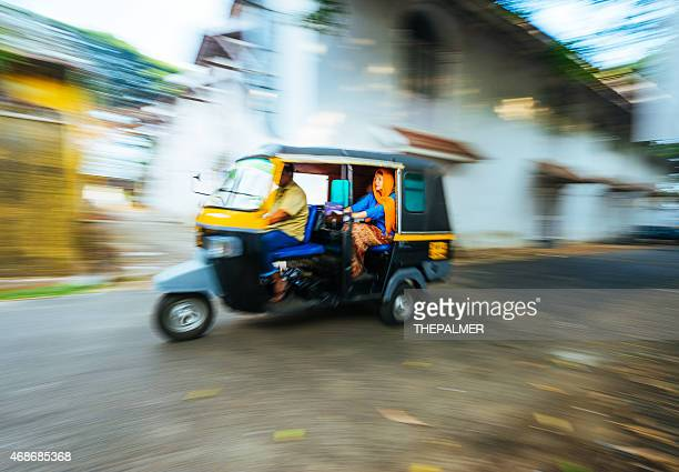 woman rides autorickshaw in the south of india - auto rickshaw stock pictures, royalty-free photos & images