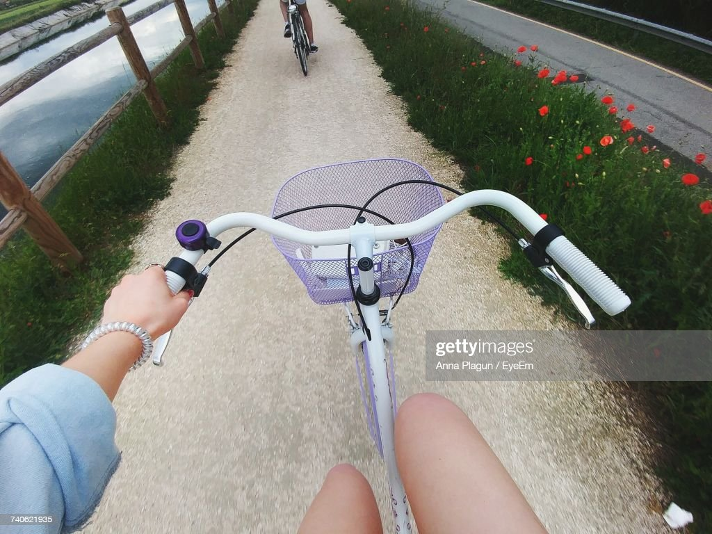 Woman Riding A Bicycle : Stock Photo
