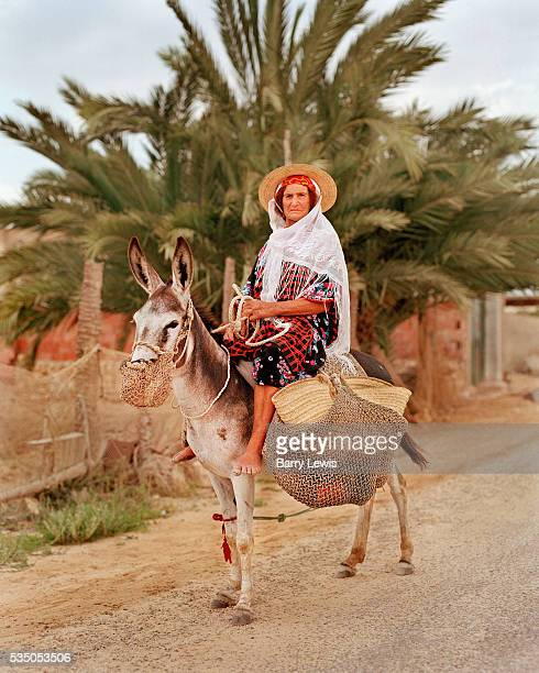 A woman riding a donkey leaves the weekly farmers market in Remla the largest town in the Kerkennah Islands Very little grows on the arid land so...