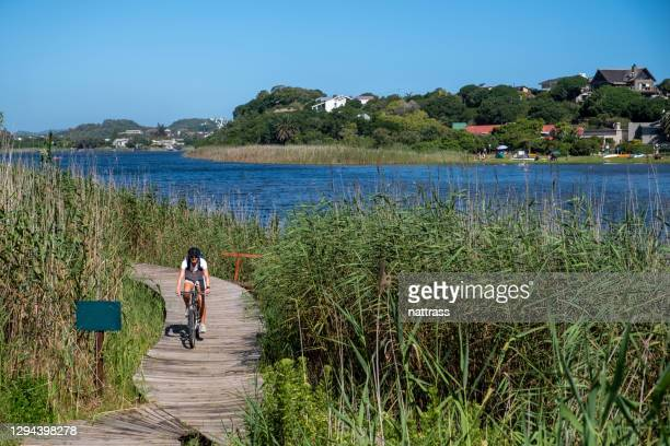 woman riding along a scenic tourist path while on vacation - south africa stock pictures, royalty-free photos & images