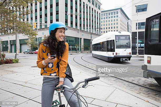 Woman riding bicycle