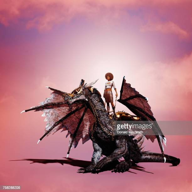 Woman riding dragon