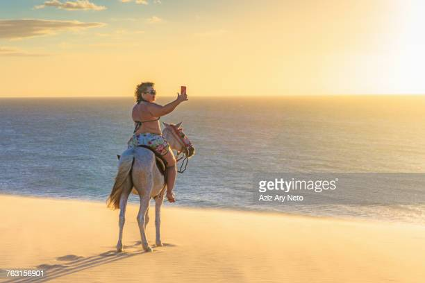 woman riding horse on beach, taking picture of view using smartphone, jericoacoara, ceara, brazil, south america - fat woman at beach stock pictures, royalty-free photos & images