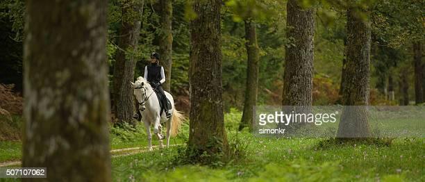 Frau Reiten Pferd