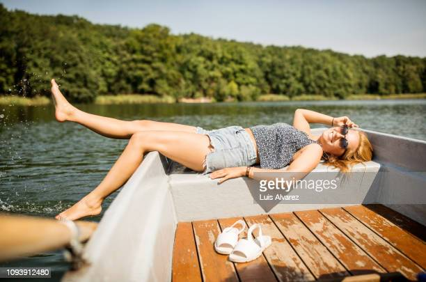 Woman riding on a boat on the lake