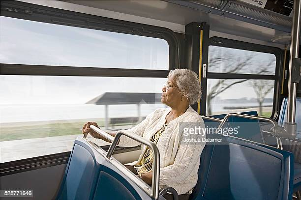 Woman riding on a bus